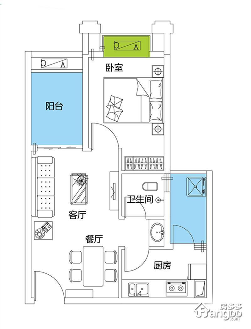山湖海1室2厅1卫户型图