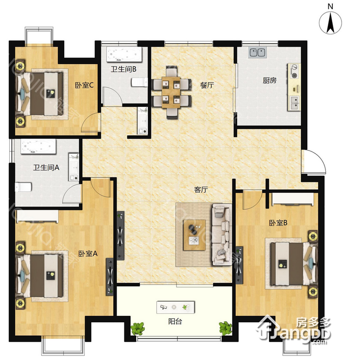 C3 3室3厅2卫128㎡