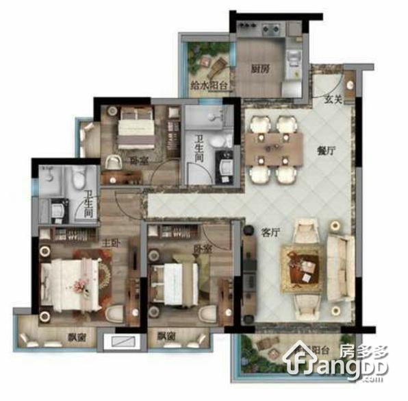 碧桂园翡翠湾 3室2厅2卫