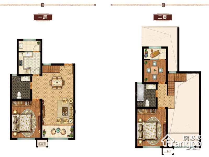 美国小镇3室2厅1卫户型图