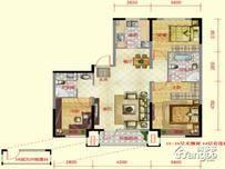 保利紫荆公馆3室2厅2卫户型图