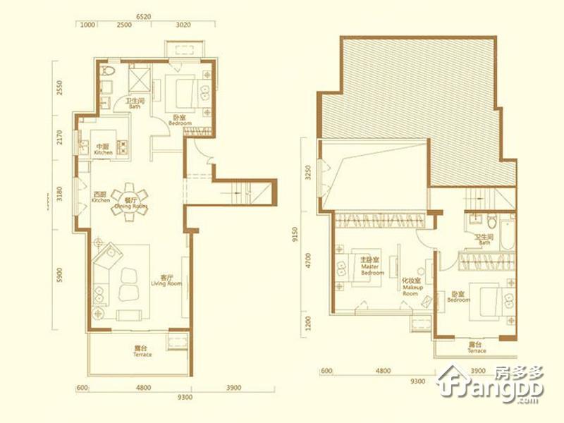 天恒摩墅3室2厅2卫户型图