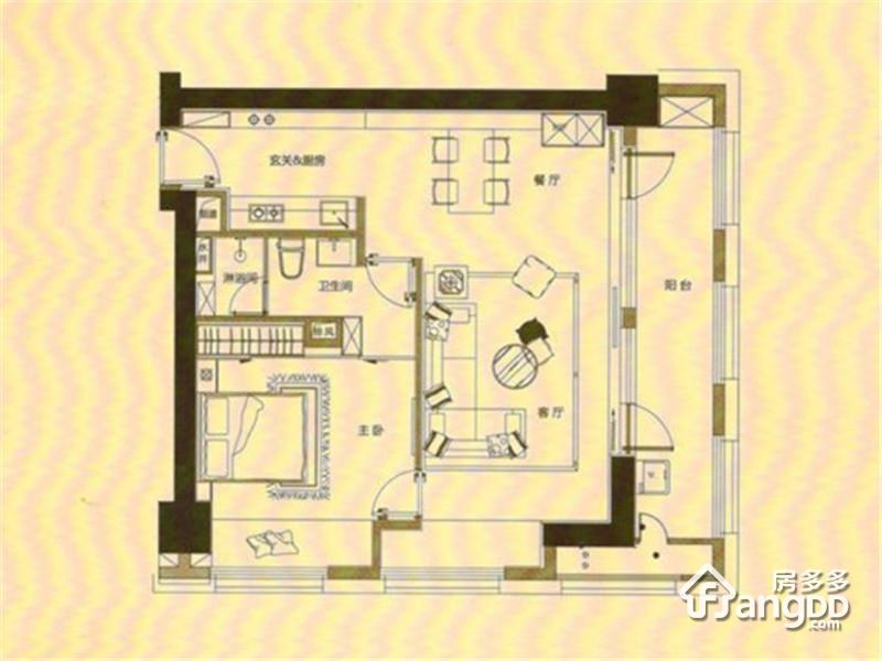 泰达Y-MSD2室2厅1卫户型图