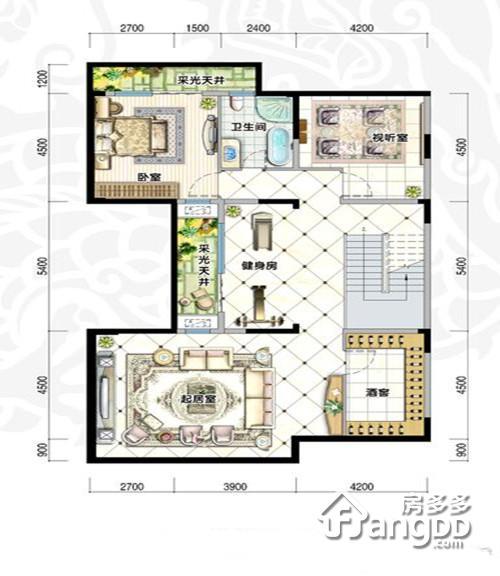 鸿洲江山2室2厅1卫户型图
