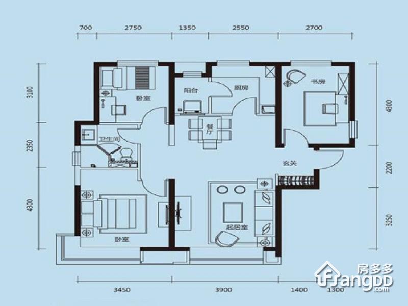 天津富力新城3室1厅1卫户型图