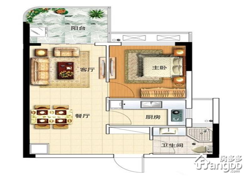 佳元七彩澜湾1室2厅1卫户型图