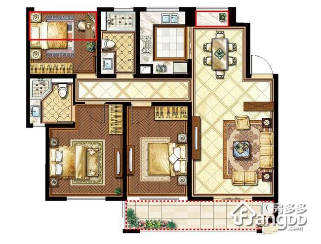 崇川星光域3室2厅2卫户型图