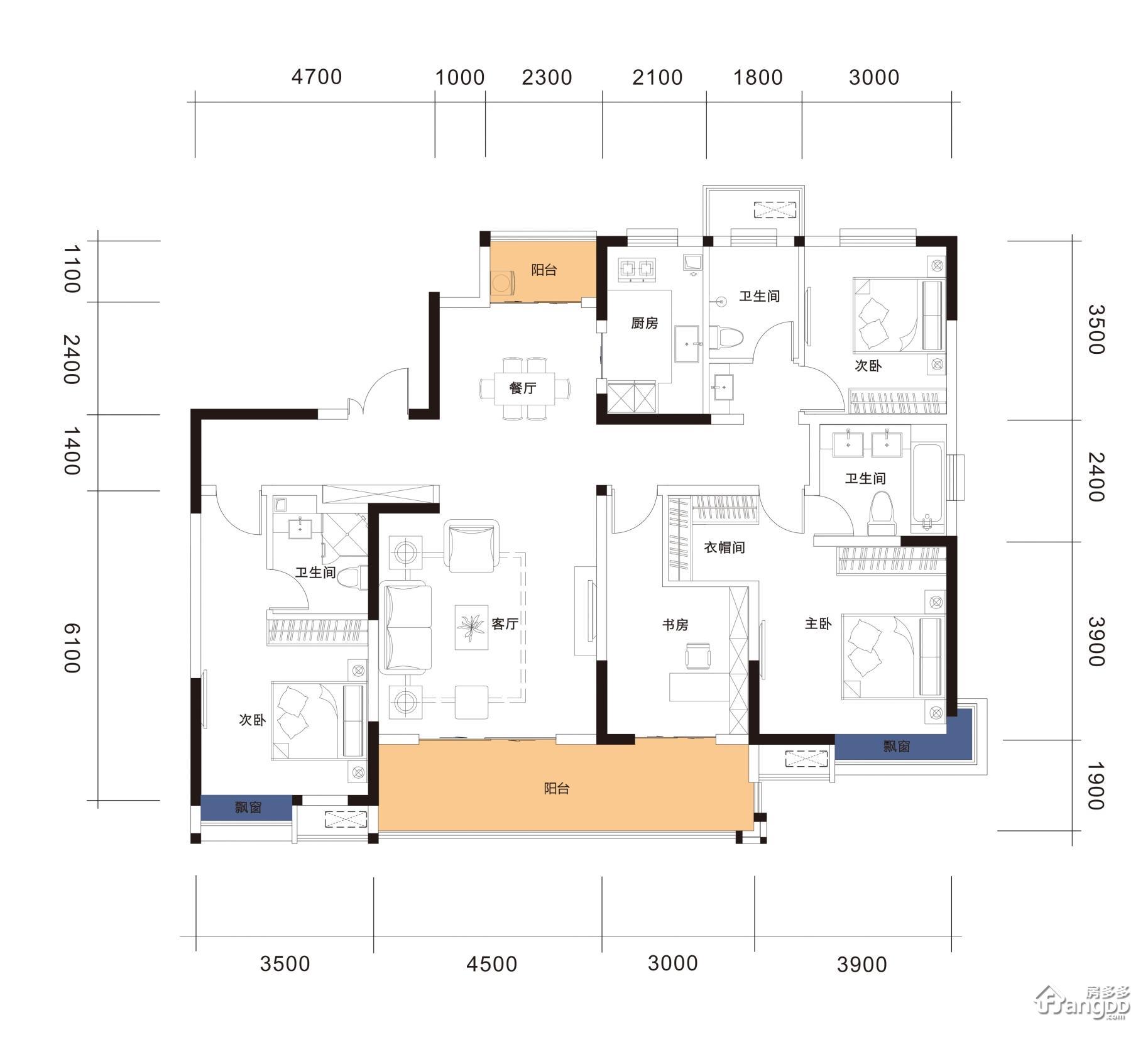 H16-162 4室2厅3卫162㎡