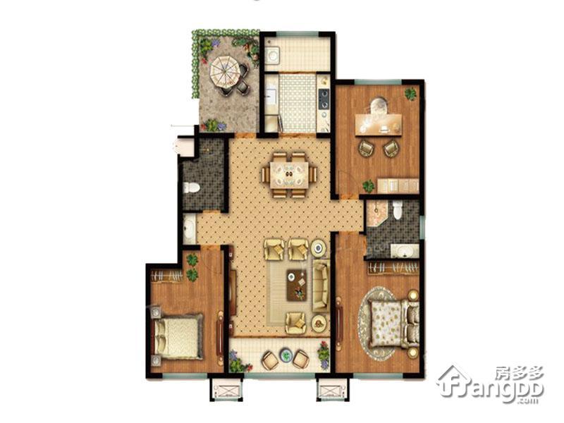 美国小镇3室2厅2卫户型图