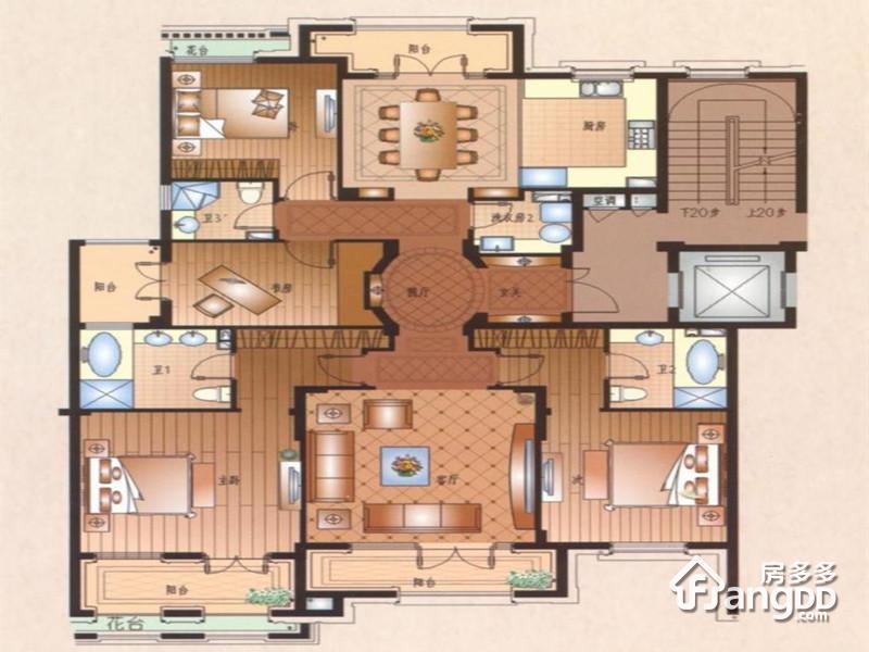 运河一品3室4厅3卫户型图