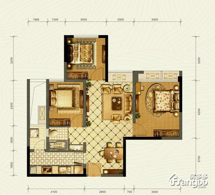 成华奥园广场3室2厅1卫户型图