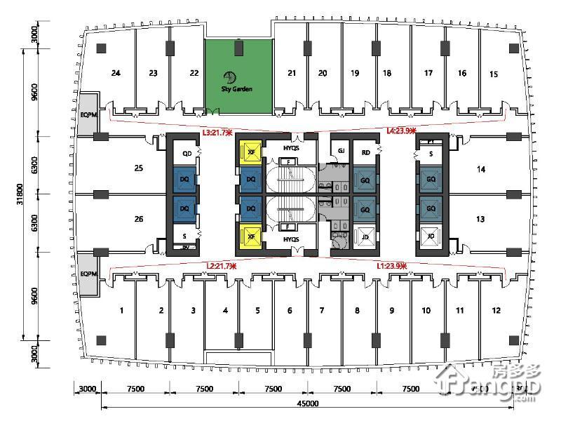 花漾城1室1厅1卫户型图