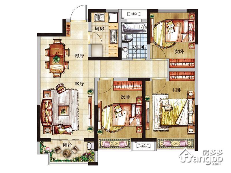 红星国际广场3室2厅1卫户型图