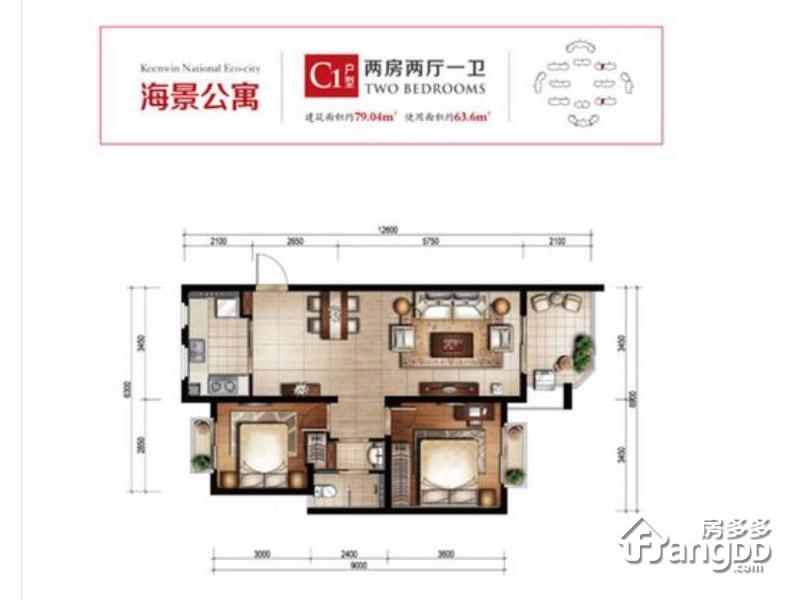 开维生态城2室2厅1卫户型图