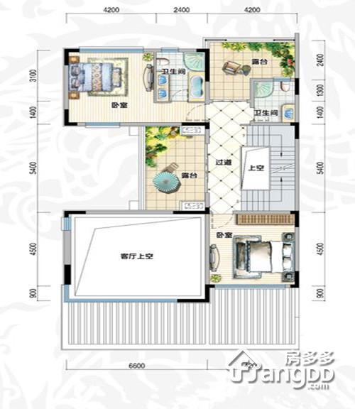 鸿洲江山2室1厅2卫户型图