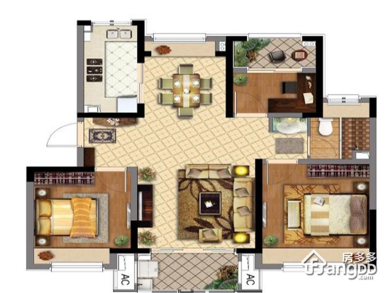 同润金色橘苑3室2厅1卫户型图