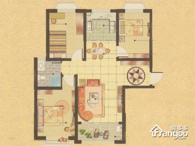 奥文国际城3室2厅1卫户型图
