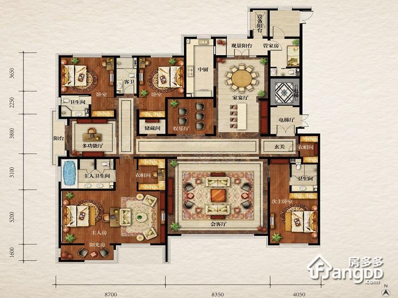 伊泰华府世家5室3厅4卫户型图
