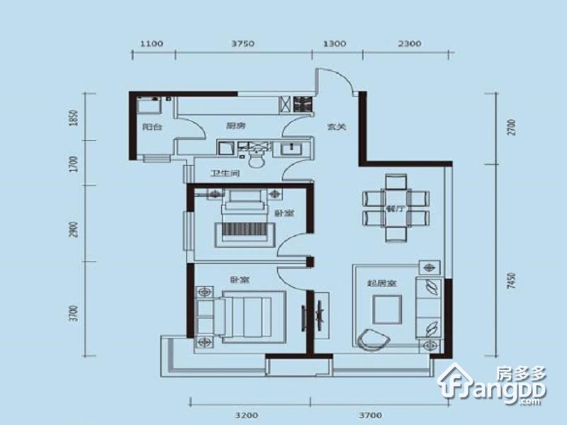 天津富力新城2室1厅1卫户型图