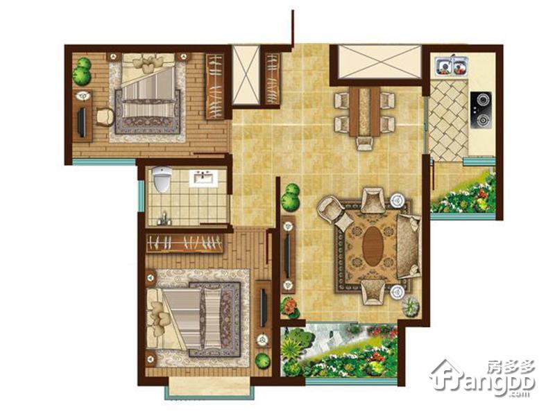 北京宫馆2室2厅1卫户型图