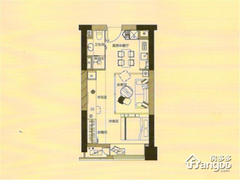 泰达Y-MSD1室1厅1卫户型图