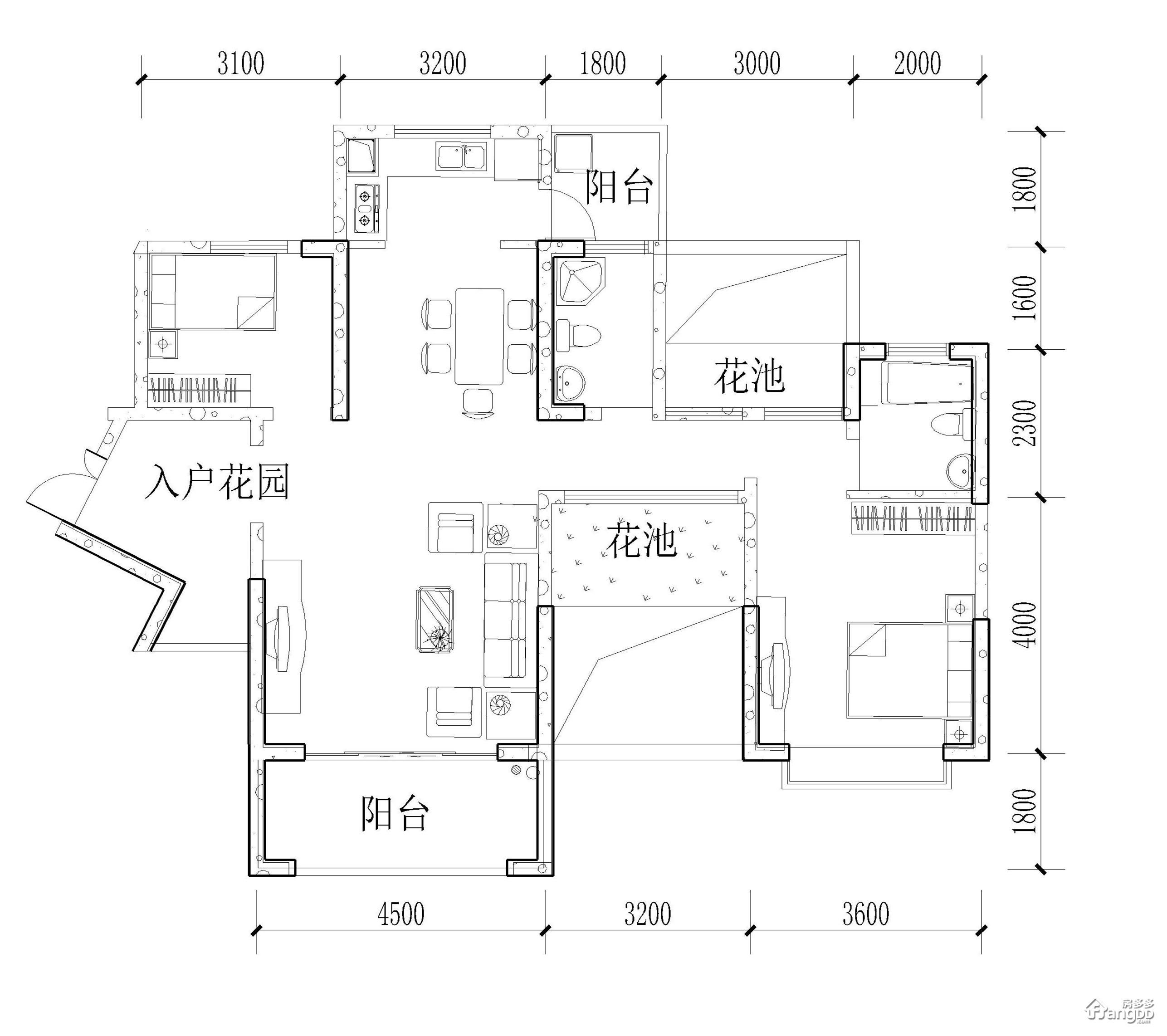 D1户型 2室2厅2卫103㎡