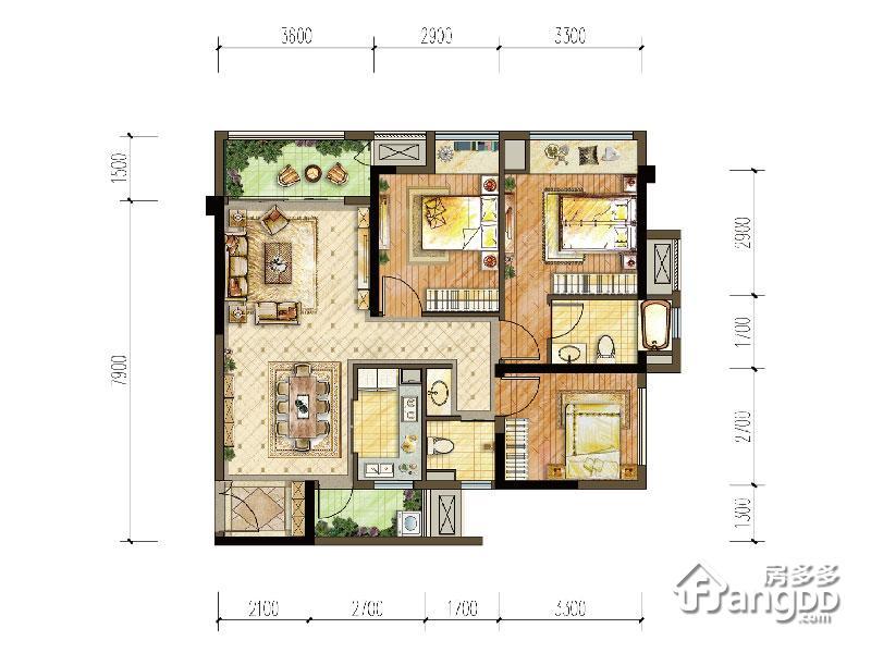 中交中央公园3室2厅2卫户型图