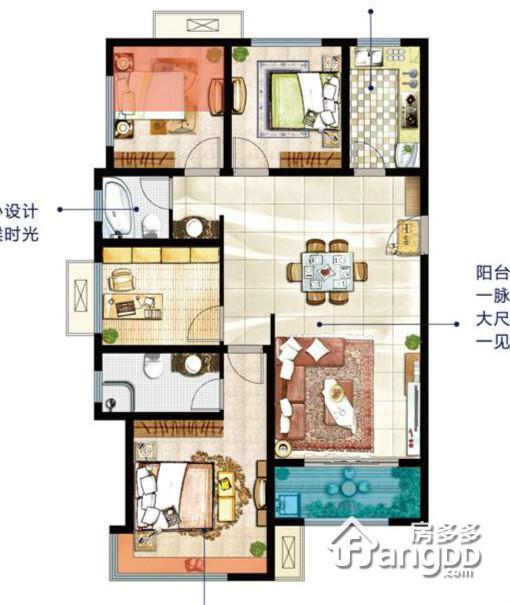 高科麓湾4室2厅2卫户型图