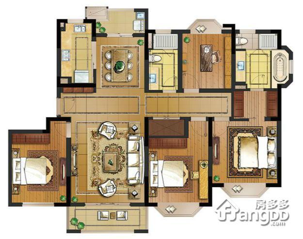 162户型 4室2厅2卫162㎡