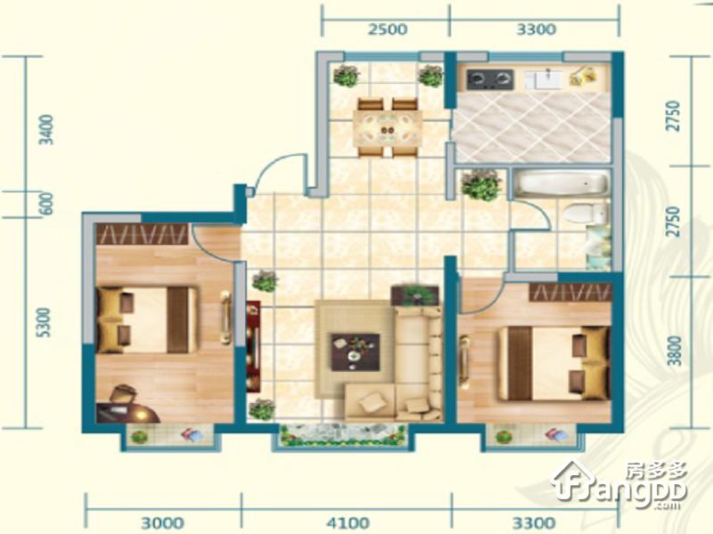 中交·上东国际2室2厅1卫户型图