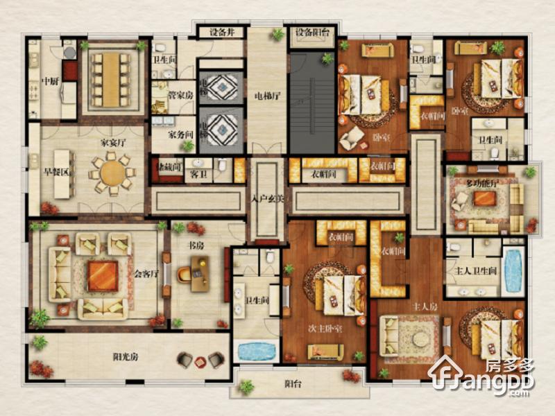 伊泰华府世家6室4厅6卫户型图