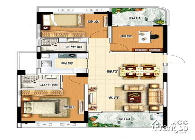 佳元七彩澜湾2室2厅2卫户型图