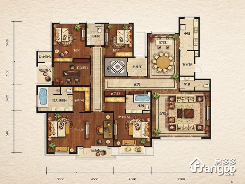 伊泰华府世家4室3厅4卫户型图