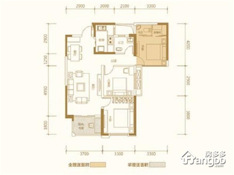 新华联梦想城2室2厅1卫户型图