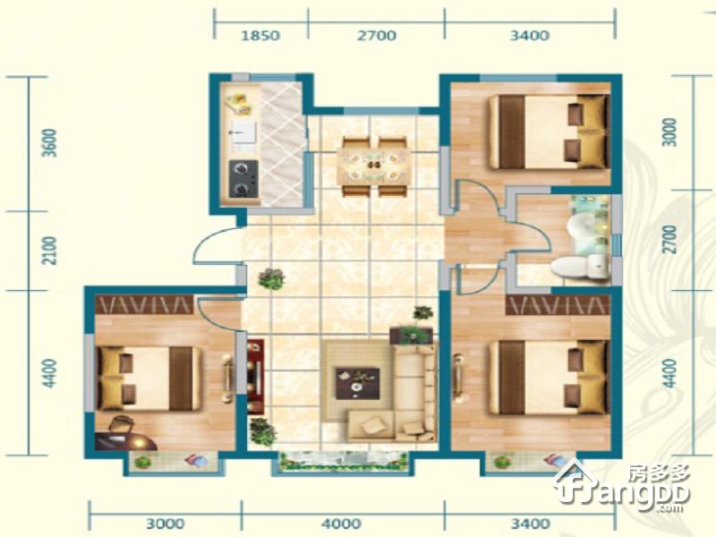 中交·上东国际3室2厅1卫户型图