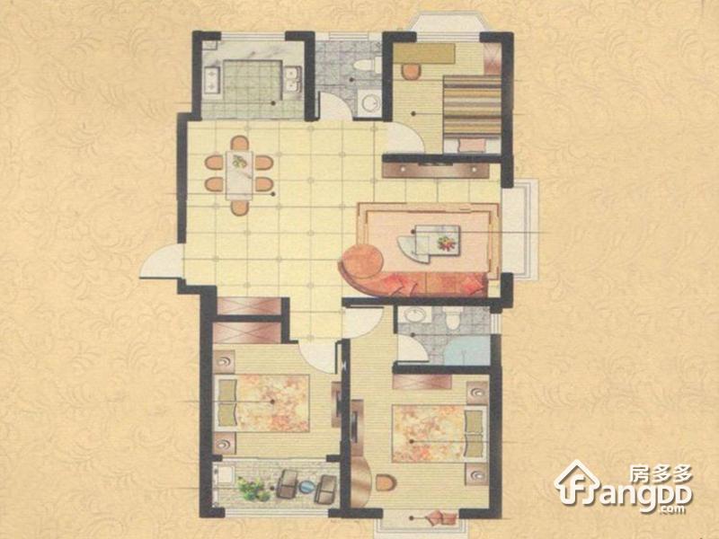 奥文国际城3室2厅2卫户型图