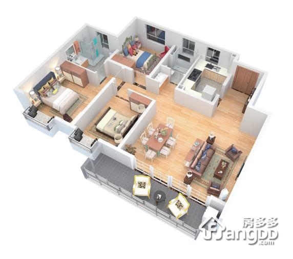 124㎡户型 3室2厅2卫124㎡