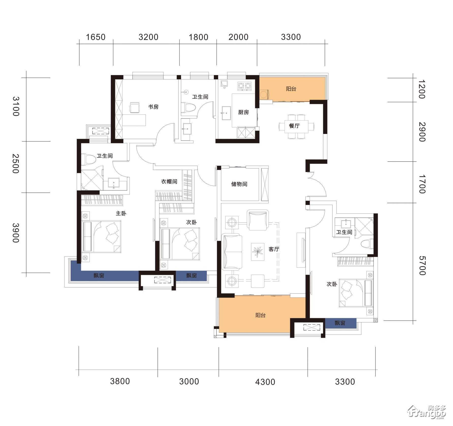 F16-149 4室2厅3卫149㎡