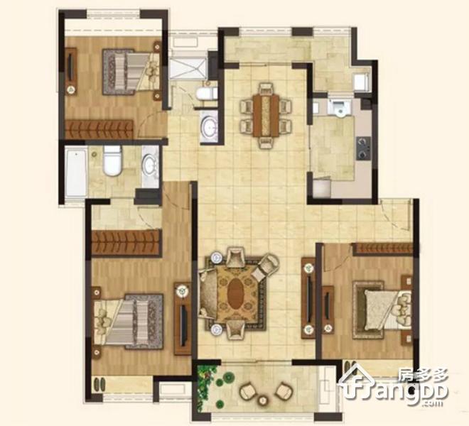 145㎡户型 3室2厅2卫145㎡