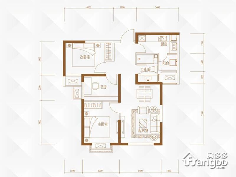 路劲太阳城3室2厅1卫户型图