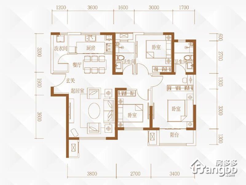 路劲太阳城3室2厅2卫户型图