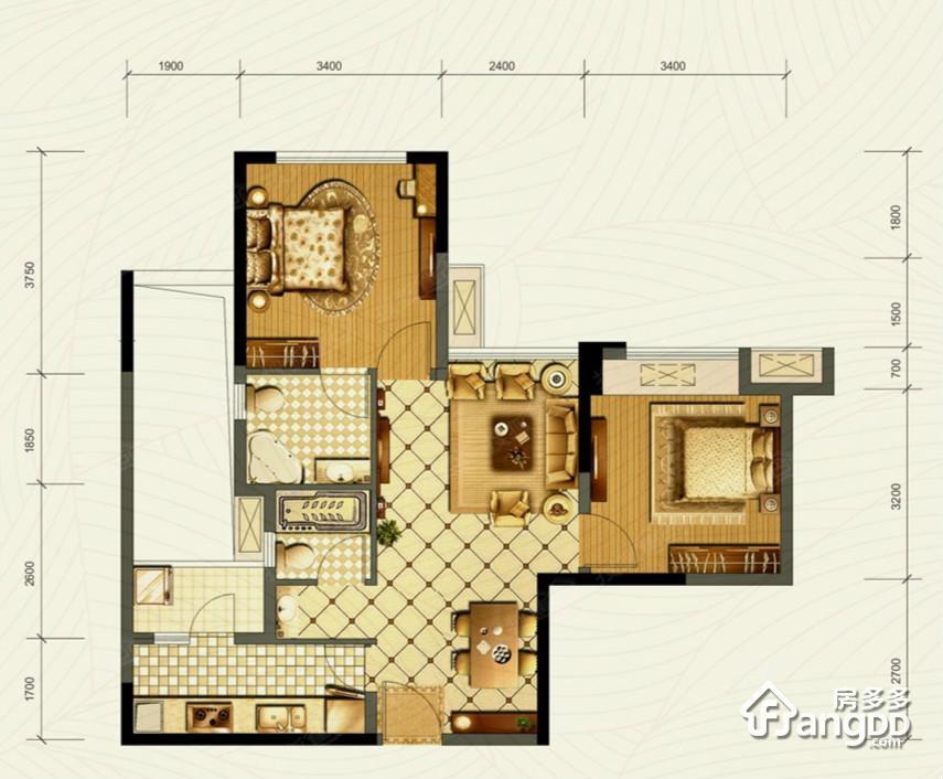 成华奥园广场2室2厅2卫户型图