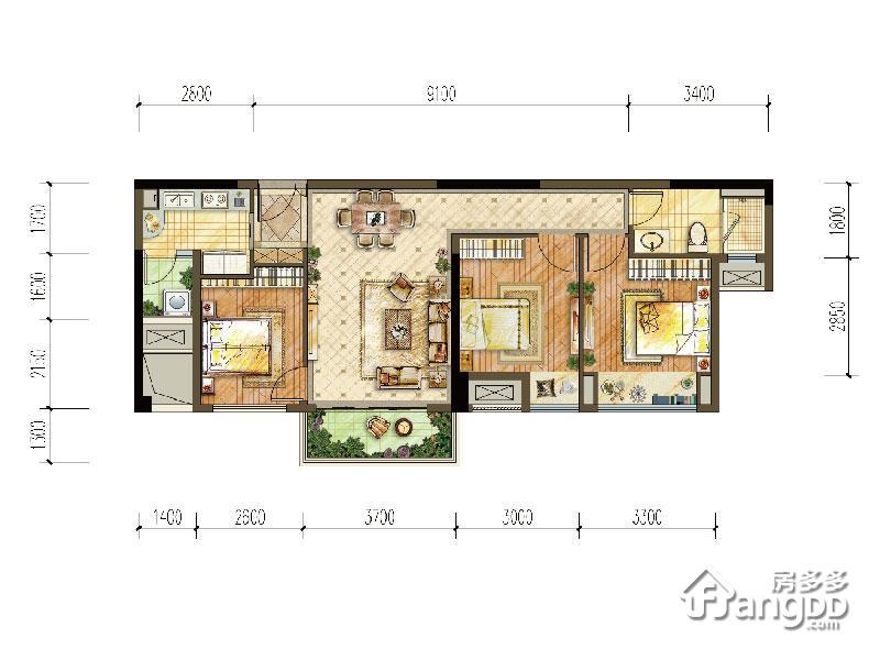 中交中央公园3室2厅1卫户型图