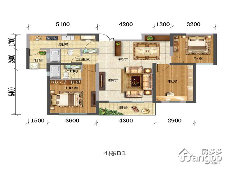 B1 3室2厅2卫133.19㎡
