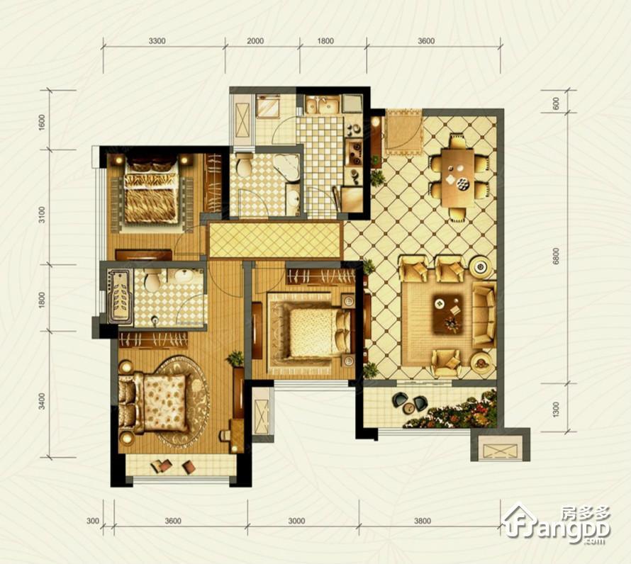 成华奥园广场3室2厅2卫户型图