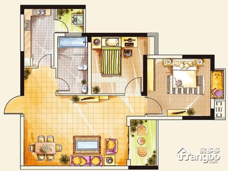 广大城2室2厅1卫户型图
