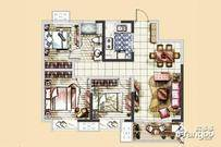 美的·公园天下3室2厅1卫户型图