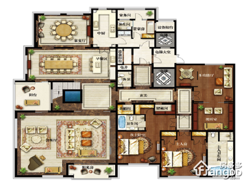 伊泰华府世家7室5厅7卫户型图