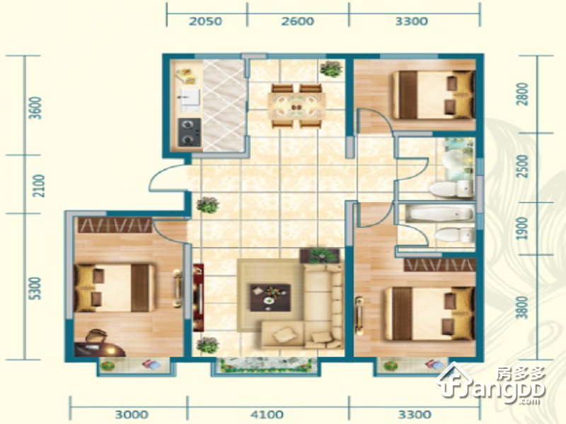 中交·上东国际3室2厅2卫户型图