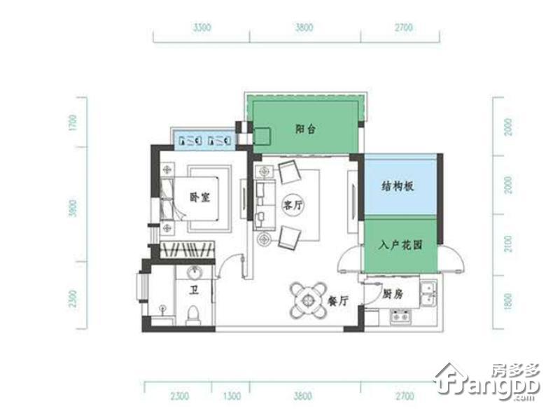 千江悦1室1厅1卫户型图